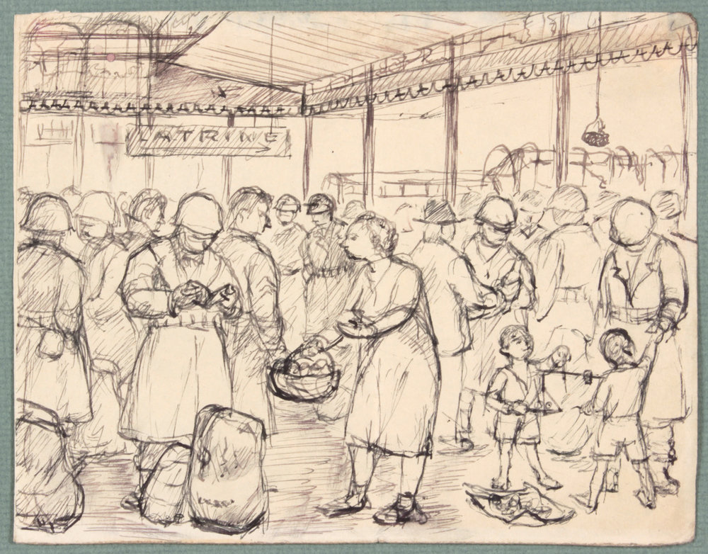 99. 1944 Winter:Spring, NT (Food Basket Naples, Italy), Pen and Ink on Paper, 4.8125x6.125, PPS 1472.JPG