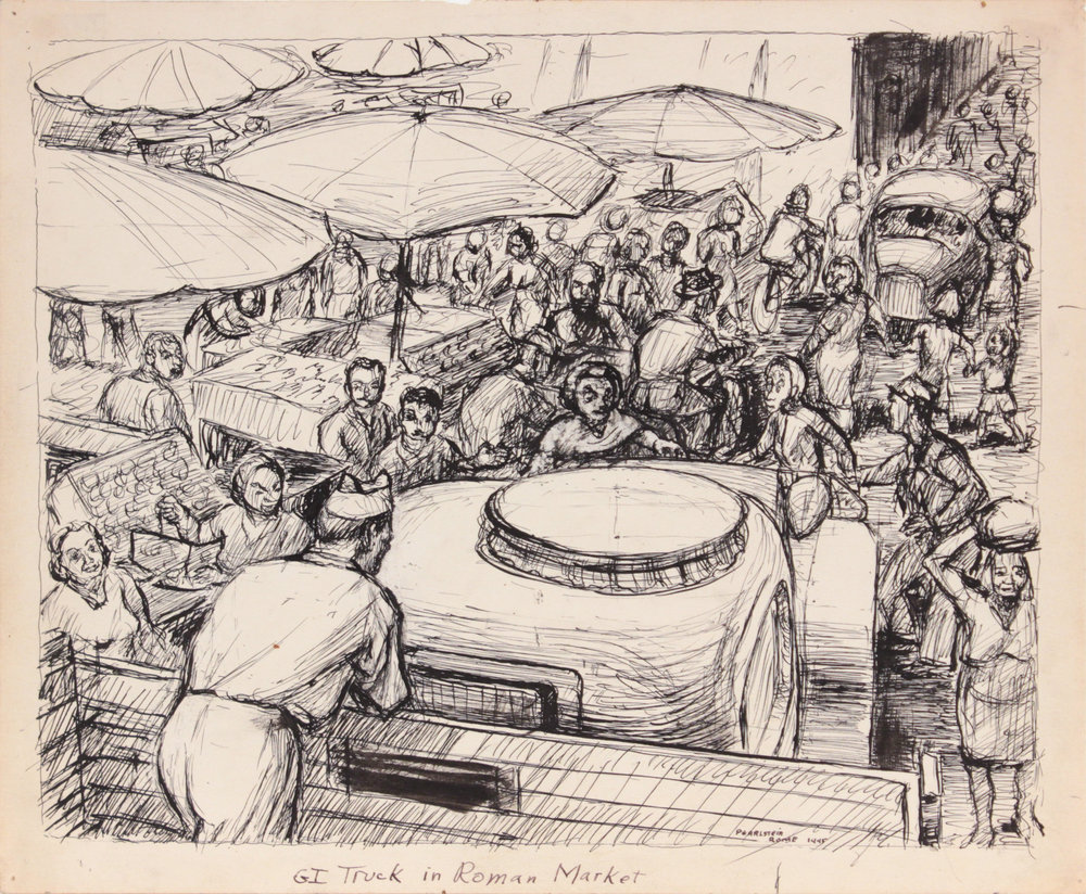 109. 1945, G.I. Truck in Roman Market, Drawing, Pen and Ink on Paper, 9.9375x11.875, PPS 1337.JPG