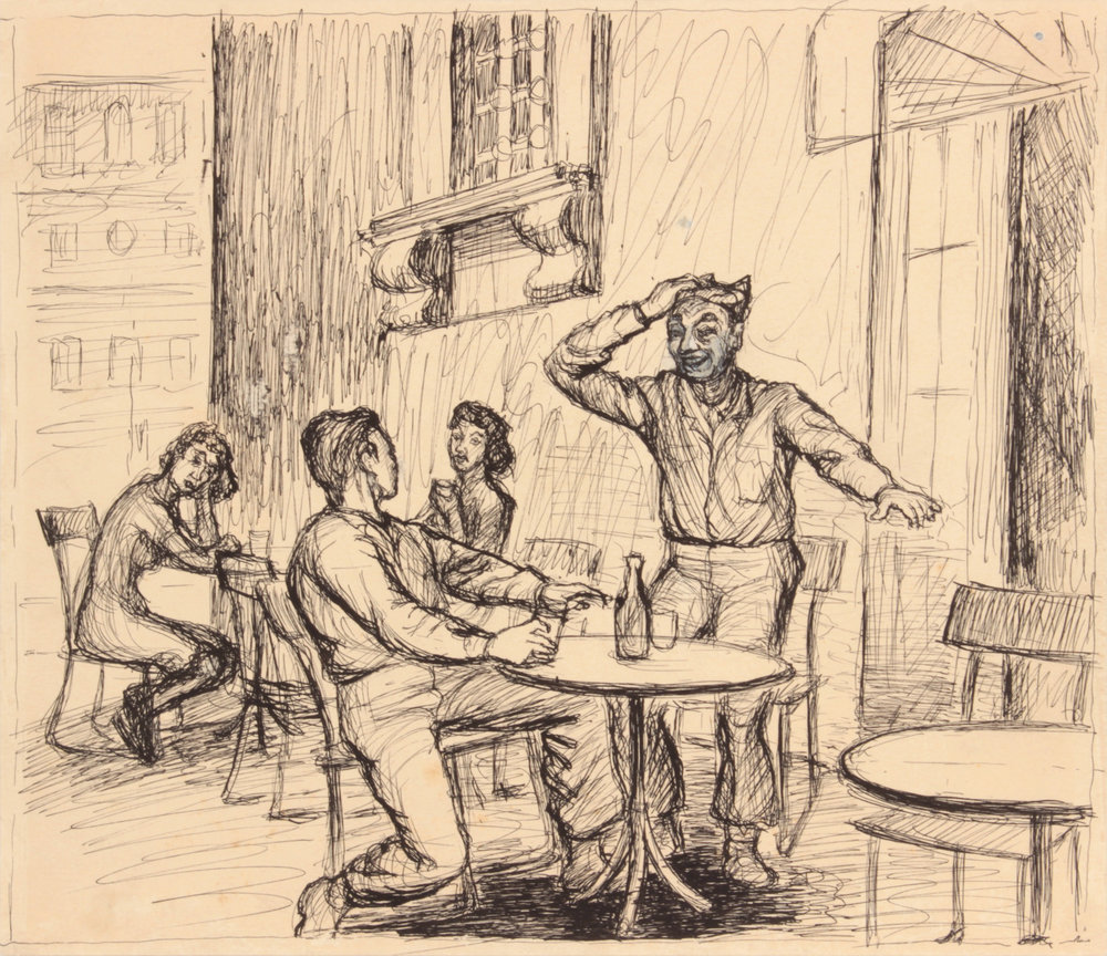 110. 1944 Spring, Rome, Italy VII (Tables Outside), Pen and Ink on Paper, Drawing, 9.125x10.50, PPS 1515.JPG