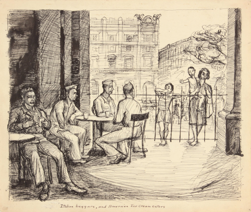 117. 1945, Rome, Italy VIII, Italian Beggars, And American Ice Cream Eaters,  Pen and Ink on Paper, Drawing, 9.9375x11.75, PPS 1516.JPG
