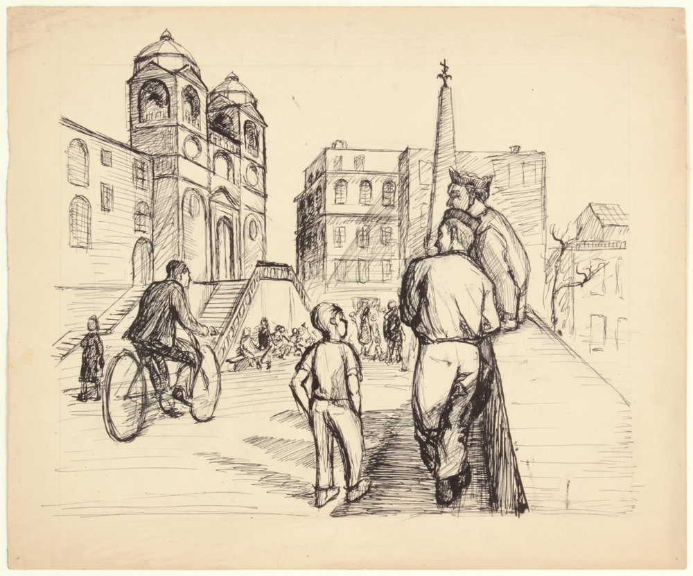 118. 1945,  Soldiers in Rome, (Spanish Steps), Pen and Ink on Paper, 10x12, PPS 1517.JPG