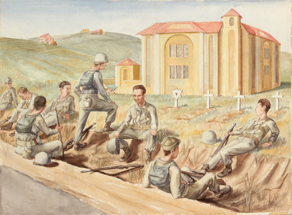 124. 1945 Fall, Resting Near Rome (Cemetary), Watercolor on Paper, 20x27.25, PPS 1468.JPG