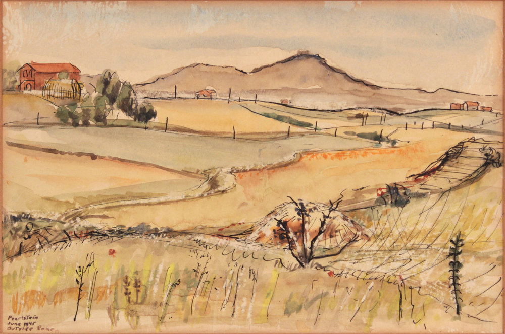 125. 1945-46, Outside Rome, Italy, Watercolor, Pen and Ink on Paper, 5.75x8.6875, PPS 1378.JPG