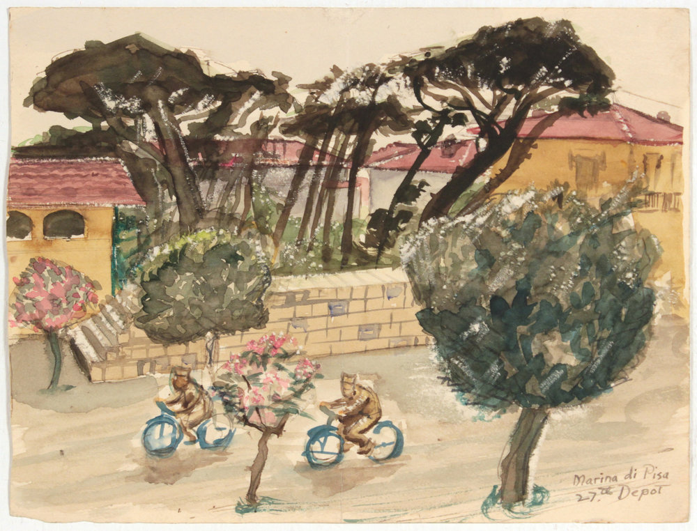 129. 1945, Marina Di Pisa IV, 27th Depot, Watercolor, 6.9375x9.125, PPS 1380.JPG