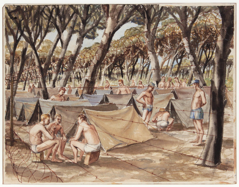 134. 1945, Pisa, German Prisoners of War, Watercolor, 13 7:8x 17 7:8, col. Bruce Weber, PPS 1386.JPG