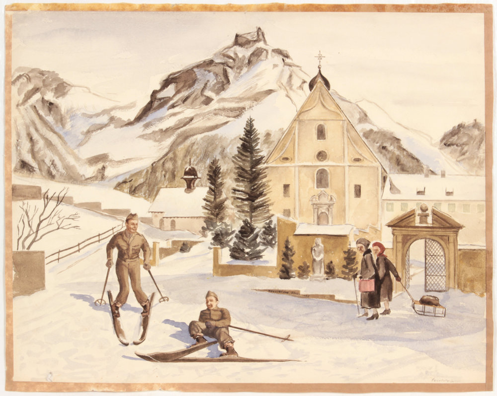 137. 1945 Fall, Alpine Village (Switzerland_Soldiers Skiing), Watercolor on Paper, 15.1875x19, PPS 1512.JPG