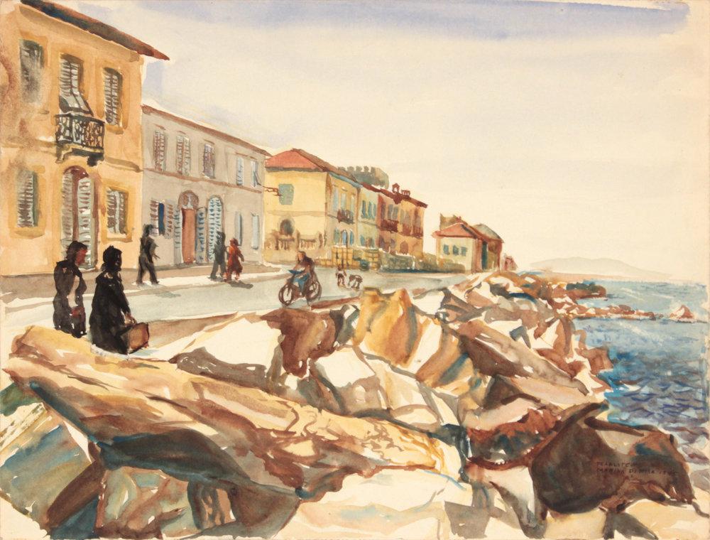 138. 1945, Marina di Pisa I, Watercolor, 9x11.875, PPS 1317.JPG