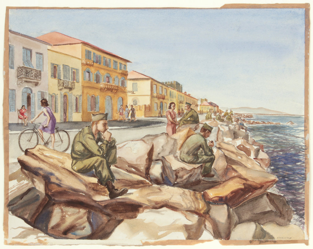 139. 1945-46 Winter, GI's at Marina di Pisa Breakwater, Watercolor on Paper, 14x18, PPS 1520.JPG