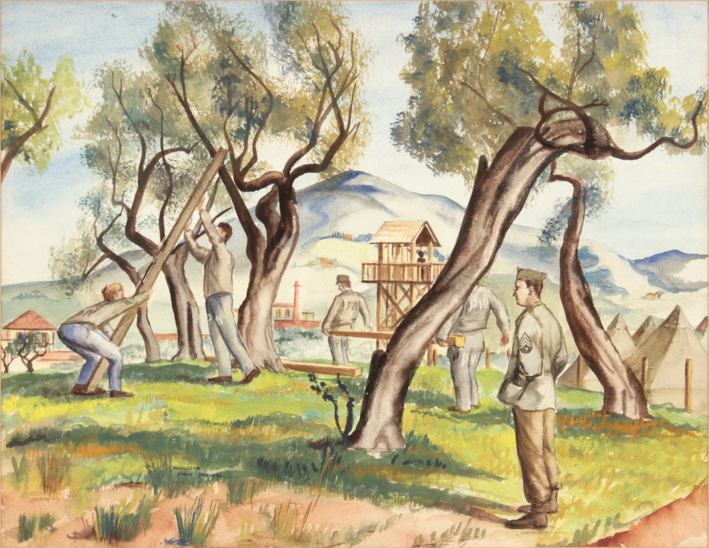 142. 1946 Winter:Spring, Livorno, Italy (Soldiers and PW Buliding Camp), Watercolor on Paper, 13.50x17.50, PPS 1513.JPG