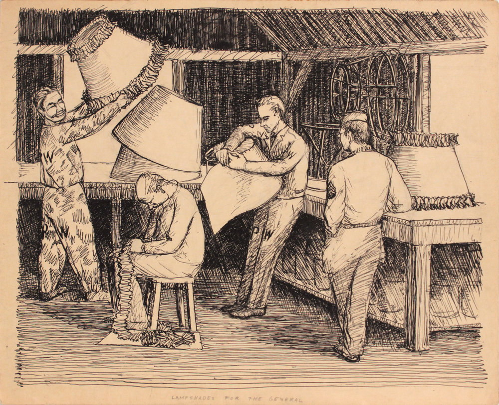 143. 1946 Spring, Livorno, Italy, Lampshades for the General, Pen and Ink on Paper, 9.50x11.75, PPS 1377.JPG