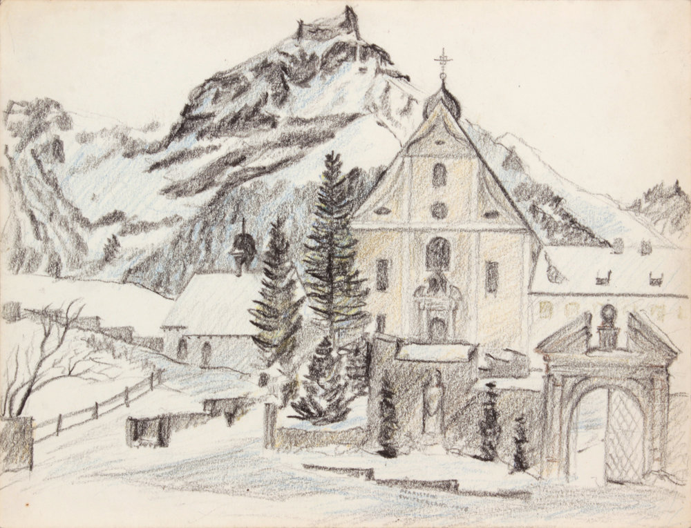 1946, Alpine Village (Switzerland), Conté Crayon, 9x11.875, PPS 1500.JPG