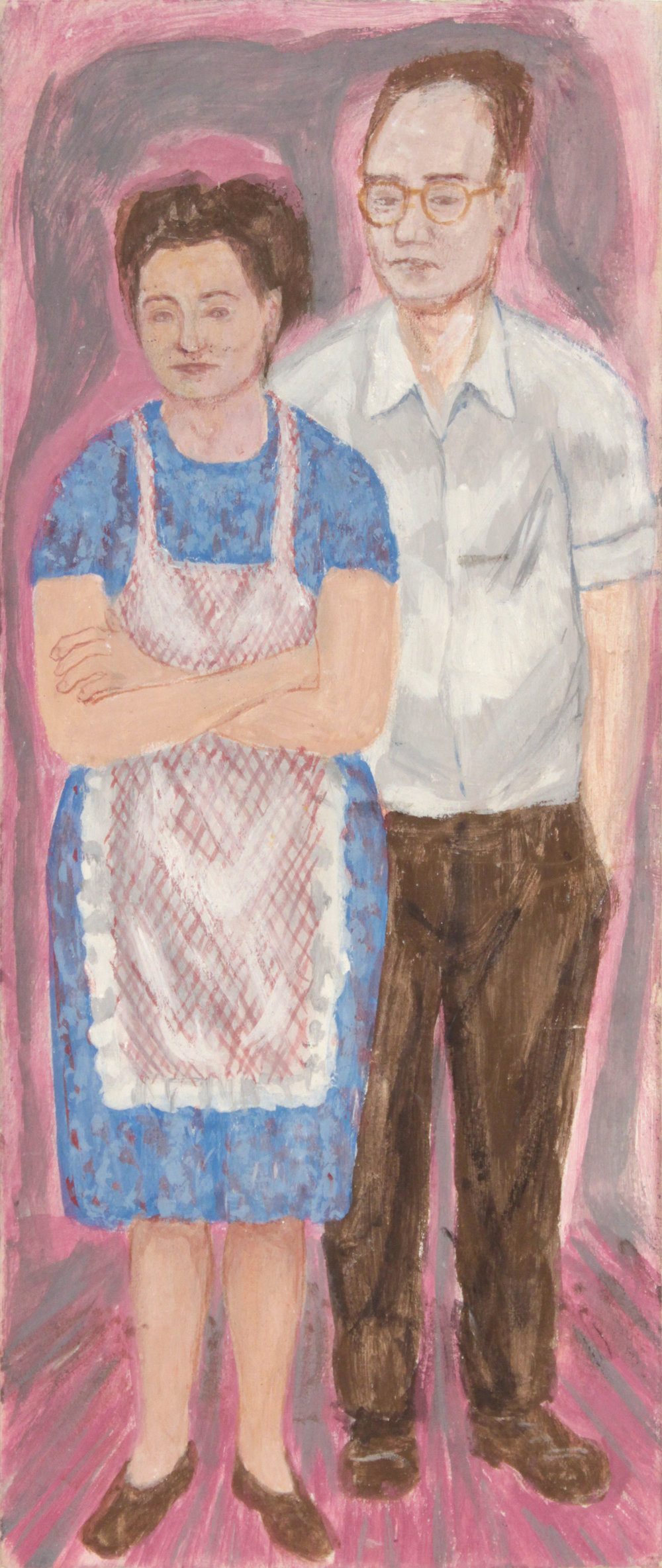 1. 1947-48 c, Image 46 (Artist's Parents), Casein on Board, 14x5 7:8, PPS 1416.JPG