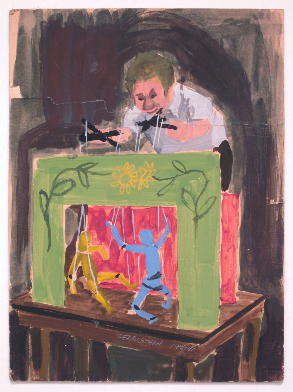 5. 1947-48, Self Portrait as a Young Puppeteer, gouache on board, 11 x 8, .JPG