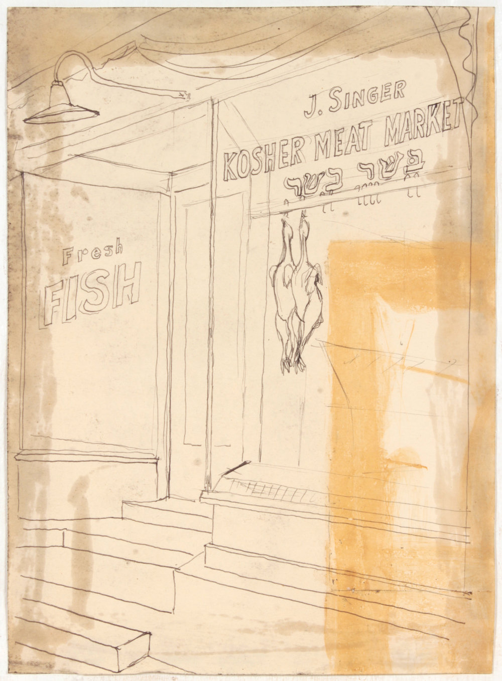 7. 1947-48, Kosher Meat Market, Pen and Ink on Paper, 11.50x8.25, PPS 1484.JPG