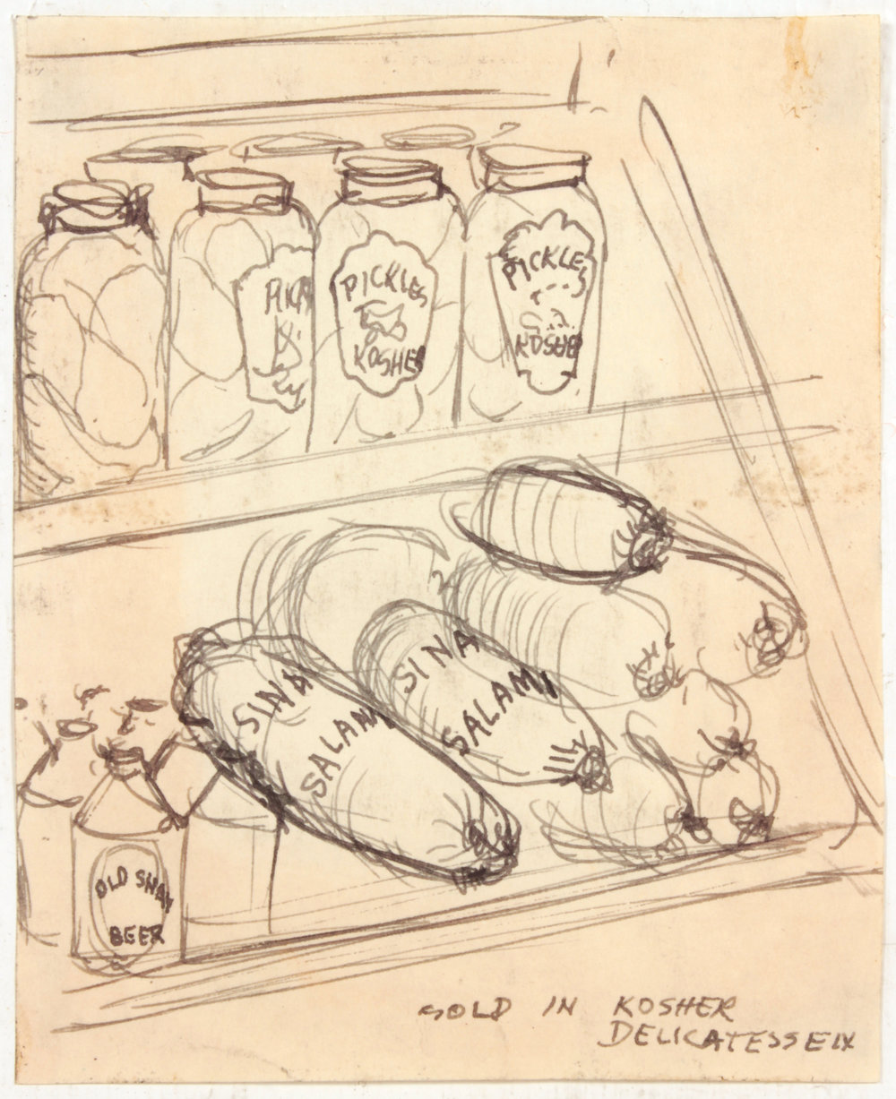 9. 1947-48, Sold In Kosher Delicatessen, Pen and Ink on Paper, 4.1875x3.375, PPS 1442.JPG