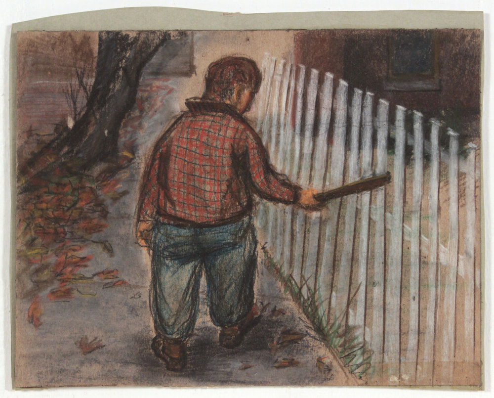 11. 1947-48 c, Image 1 (Picket Fence), Casein and Charcoal on Paper, 8 1:2x11, PPS 1414.JPG