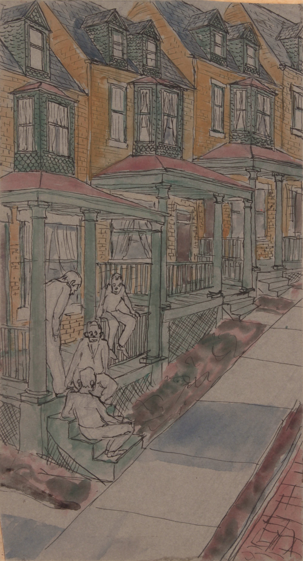 14. 1947-48 c, NT (Philip's Parents House in Pittsburgh), Pen, Ink and Casein on Paper, 10.25x5.50, PPS 1445.JPG