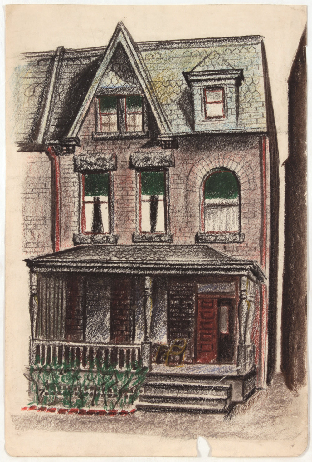 13. 1947-48 c, House, Conté Crayon and Pastel on Paper, 17.375x11.8125, PPS 1432.JPG