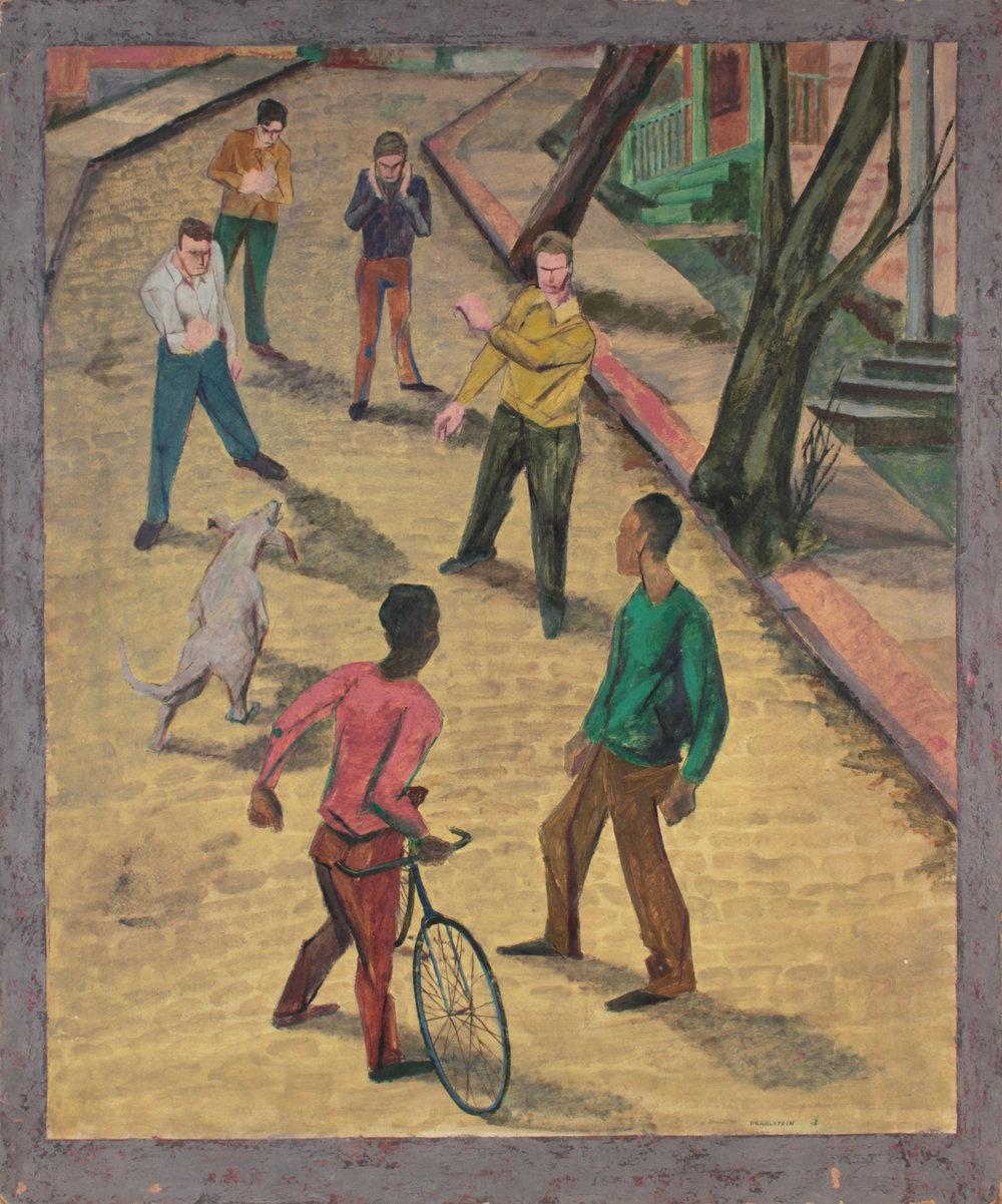 16. 1947-48 c, Street Fight, Casein on Board, 30x25, PPS 1567.JPG