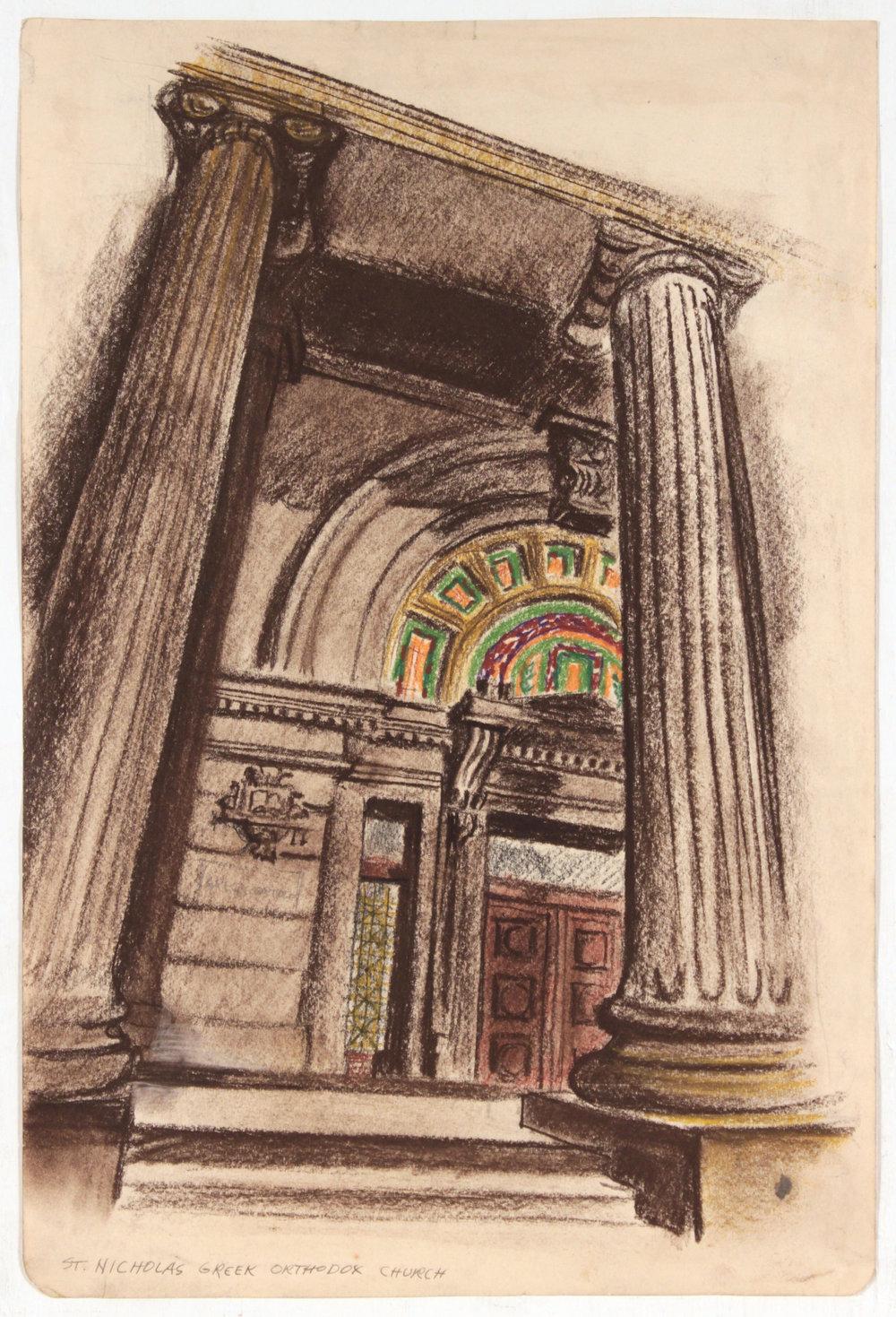 18. 1947-48 c, Image 6_St. Nicholas Greek Orthodox Church, Comté Crayon and Chalk on Paper, 17 5:8x11 3:4, PPS 1417.JPG
