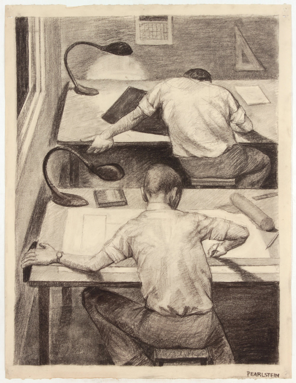 22. 1947-48 c, NT (Architect's Office _Two Tables), Charcoal on Paper, 25x19, PPS 1495.JPG