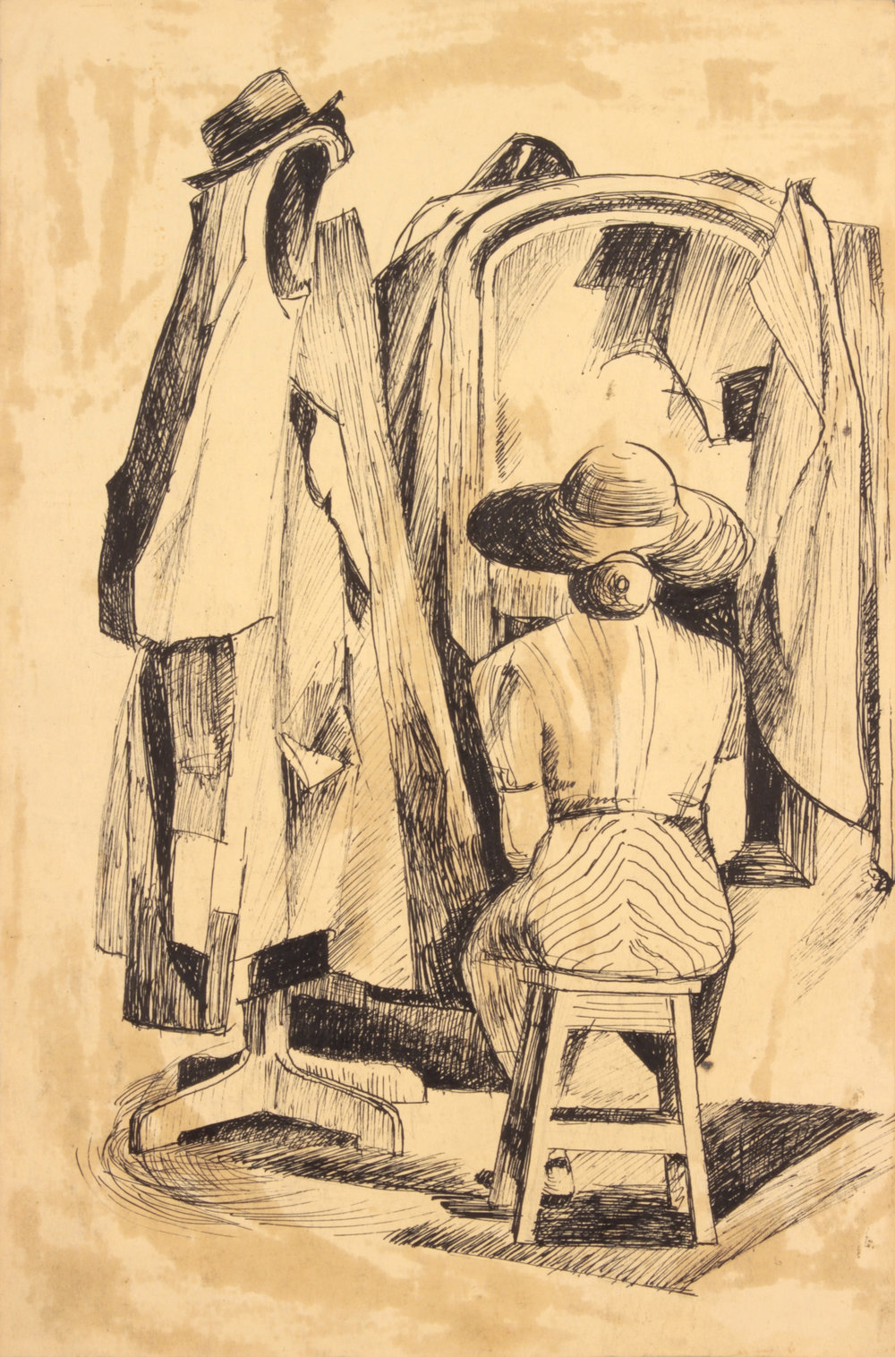 2. 1948-49 c, NT (Seated Lady with Mirror and Coat Hanger), Pen and Ink on Paper, 14.875x9.875, PPS 1448.JPG
