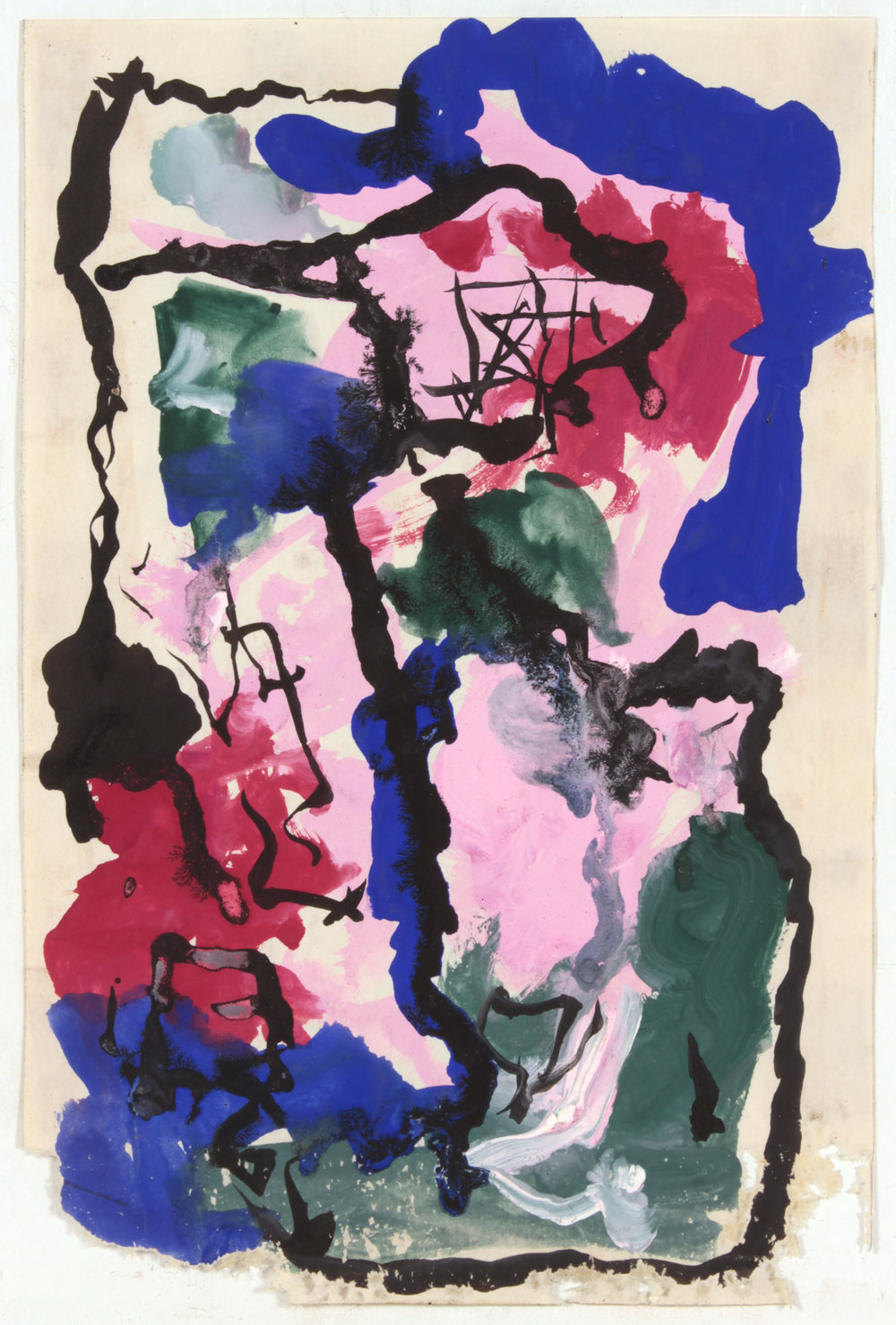 6. 1946-47 c, NT (Class Exercise 4_ Blue, Pink, Green, Red and Black), Casein and Ink on Paper, 9.375x6.25, PPS 1463.JPG