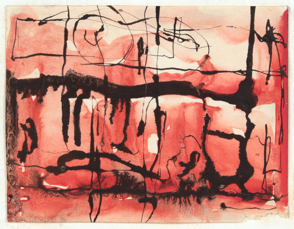 7. 1946-47 c, NT (Class Exercise 7_Red and Black), Wash and Ink on Paper, 5.125x6.625, PPS 1466.JPG