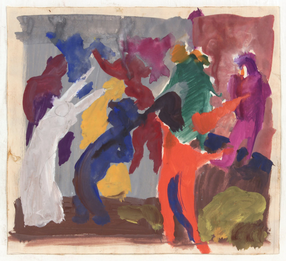 8. 1947-48 c, NT (Class Exercise 6_ Colorful Figures), Casein on Paper, 8.25x9.125, PPS 1465.JPG