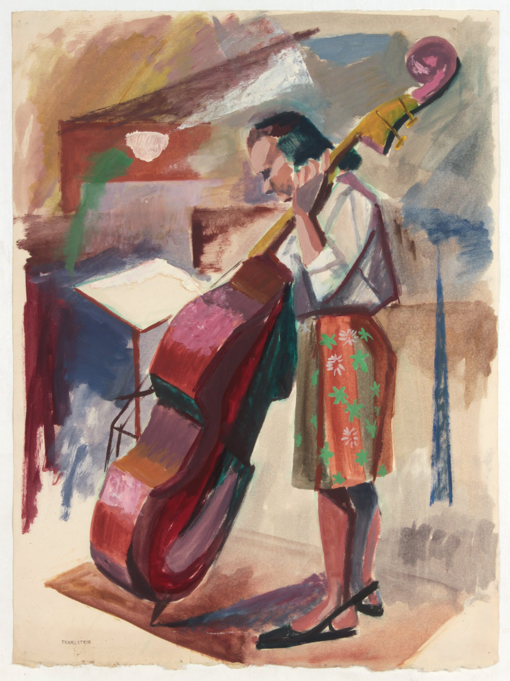 11. 1947-48 c, Upright Bass Player, Oil on Paper, 25.25x19.125, PPS 1434.JPG
