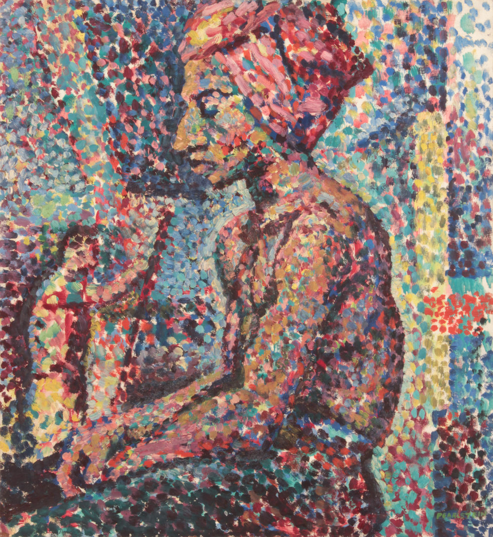 15. 1947, Seated Model in Pointilist Style, Oil on masonite, 20x18.25, PPS 1545.JPG