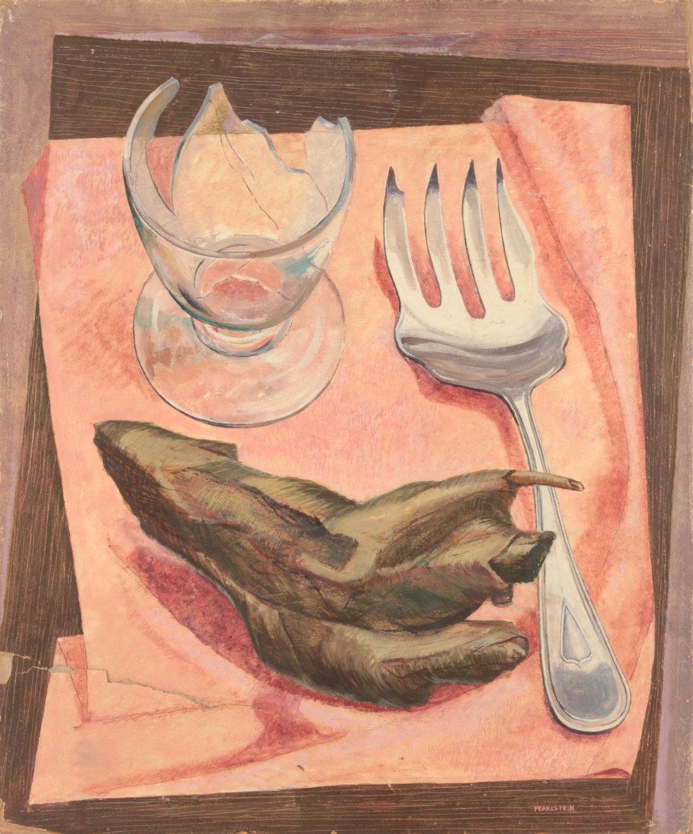 16. 1946-47 c, Still Life on Pink Cloth, Casein on Masonite Board, 24x20, PPS 1548.JPG