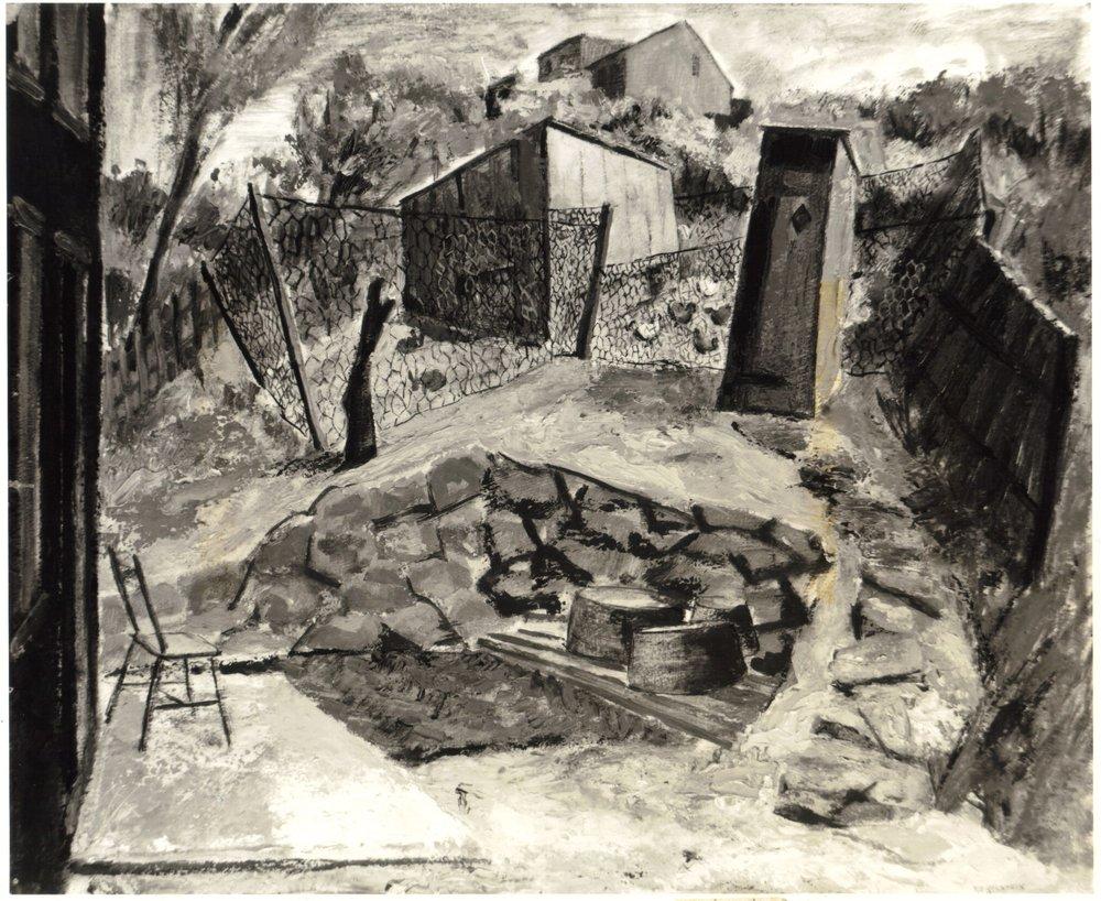 21. 1947, Country Backyard, Oil on board, 20x24, 1947.jpg