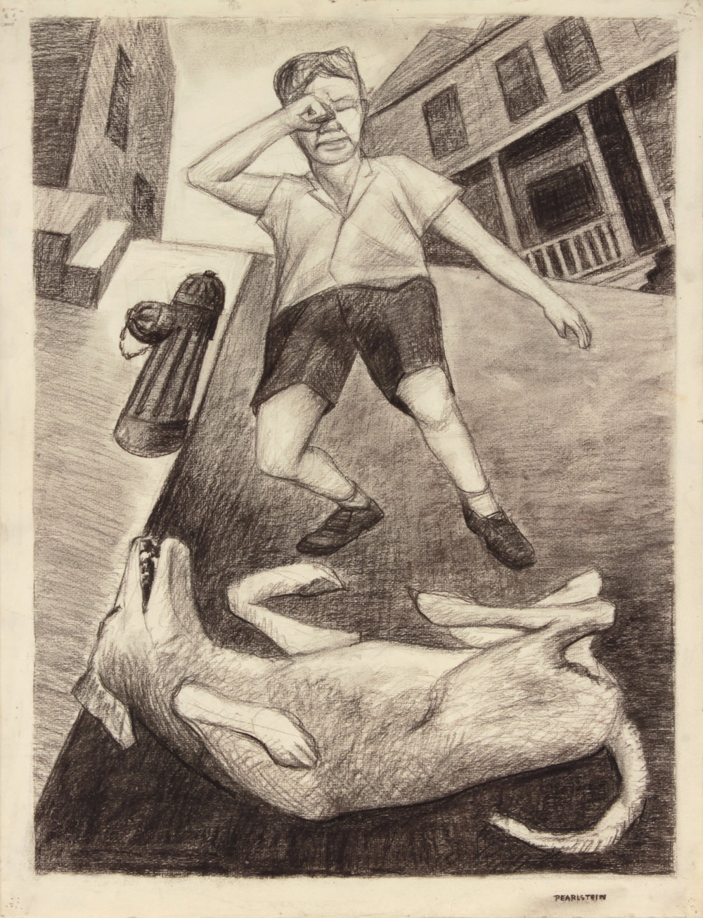 22. 1947, Dead Dog (Whitey), Charcoal on Paper, 25x19.125, PPS 1435.JPG