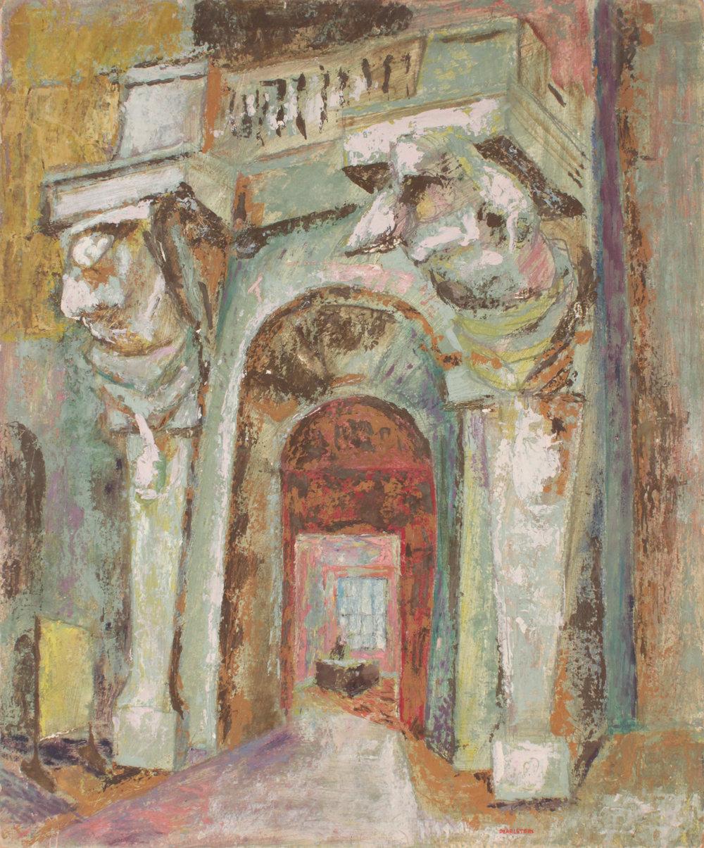 30. 1948-49 c, Office Entrance, Casein Tempera on Board, 30 x 25, PPS 1568.JPG