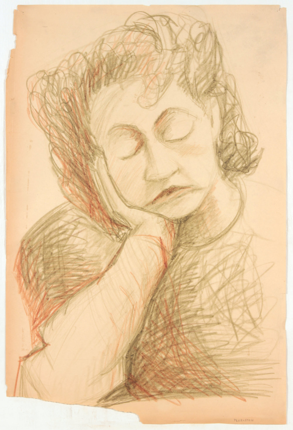 38. 1947-48 c, NT (Portrait Studies_Green and Red lady, Eyes Closed), Colored Pencil on Paper, 24x16, PPS 1476.JPG