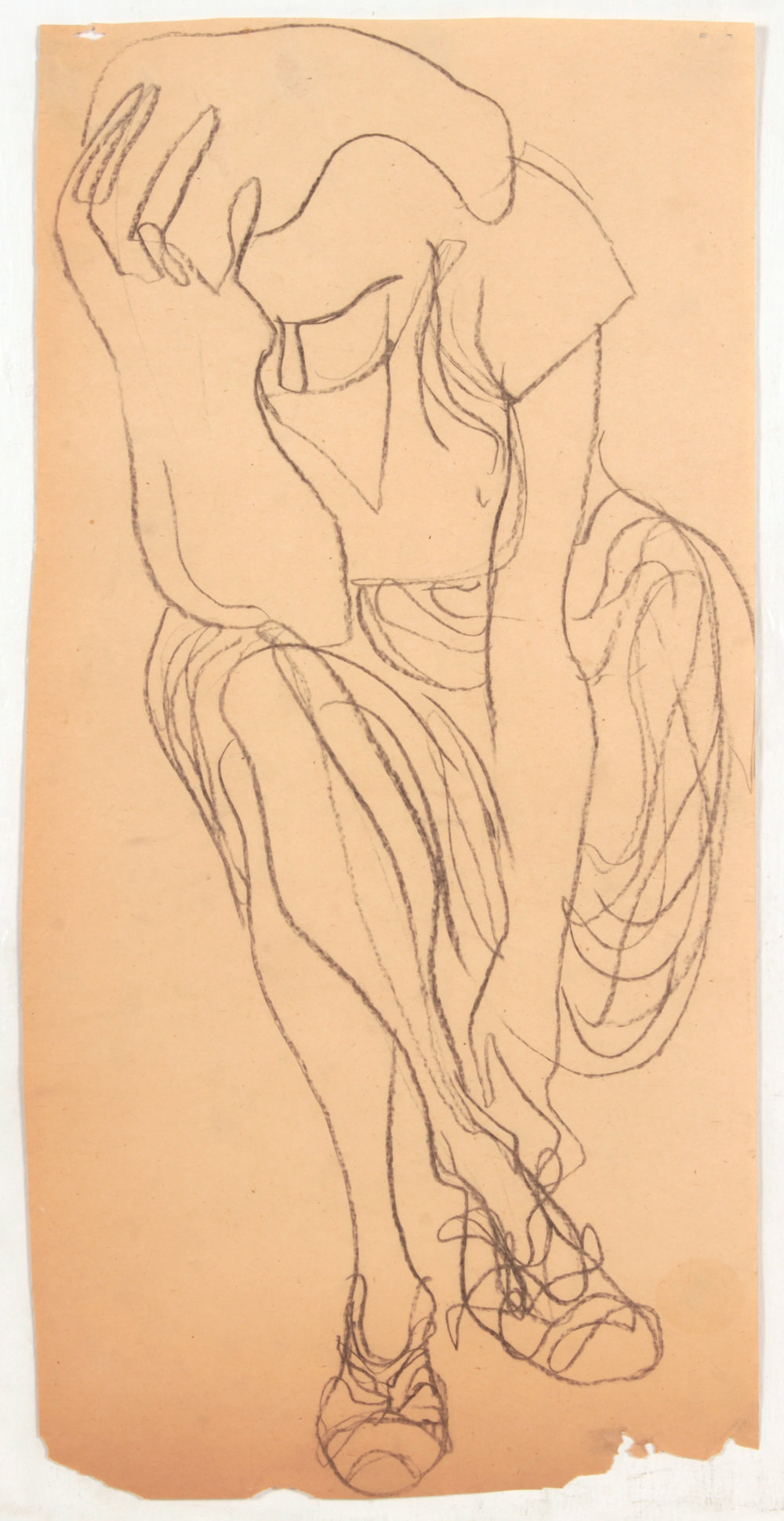 40. 1947-48 c, NT (Lady Holding Head and Fixing Shoe), Charcoal on Paper, 22x11, PPS 1437.JPG