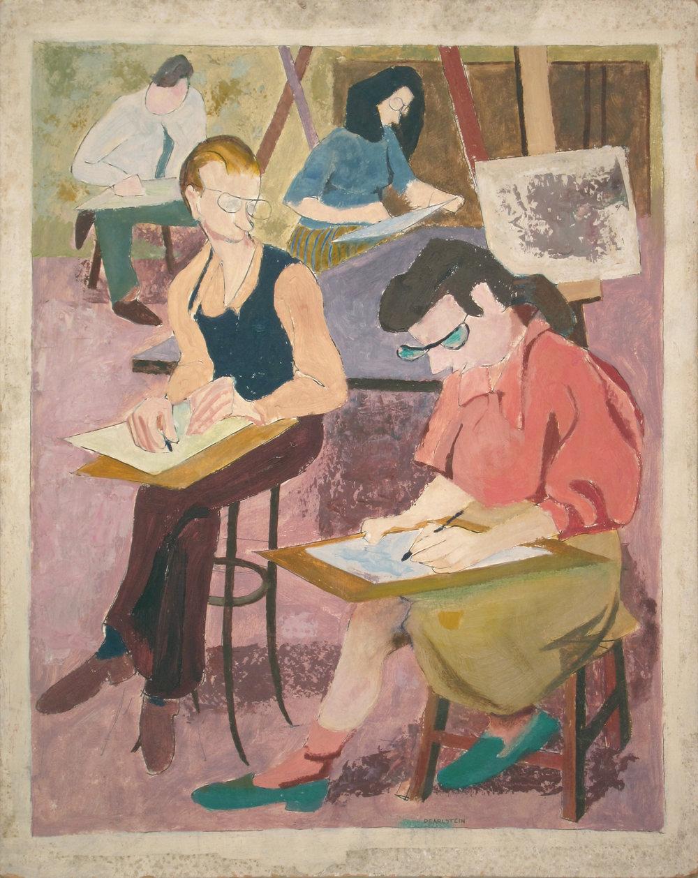 42. 1947-48 c, Art Class, Oil on board, 20x16.jpg