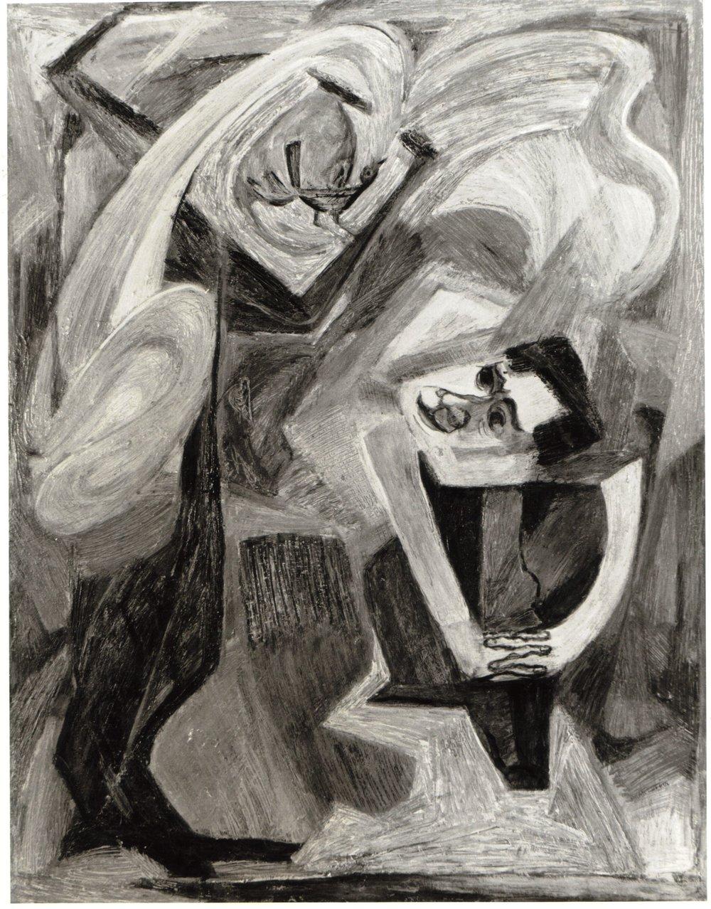 47. 1948-49 c, The Mahler Theme (The Bird's Song), Casein on masonite, 30.5x24, 1948-49.jpg