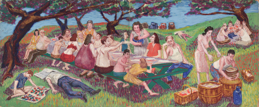 43. 1947-48 c, Family Picnic, (Caricature_Left Side), Casein on Board, Two Panels, each 20x24, PPS 1565.jpg