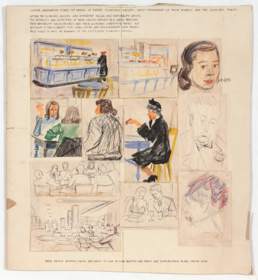 1. 1948-49, Image 55, Student's Work (Dwelling Places), Crayon, Graphite and Pen and Ink on Paper, 17.75x16.25, PPS 1403.JPG