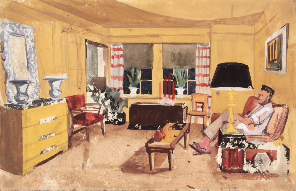 4. 1948-49, NT (Dwelling Spaces_Living Room 1_Striped Curtains), Casein and Graphite on Paper, 7.375x11.50, PPS 1479.JPG