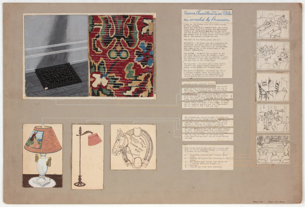 3. 1948-49, Image 57, Student Work (Human Characteristics as Revealed by Possessions _1 of 2 Pages), Mixed Media Collage on Board, 20.125x30.125, PPS 1404.JPG