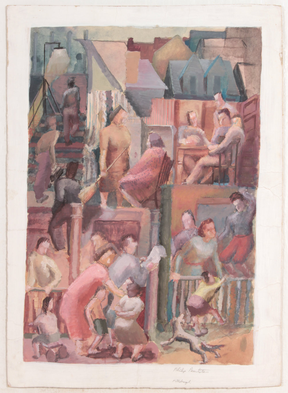 7. 1948-49, Greenfield Hazelwood (Pittsburgh Scenes_Finished), Casein on Paper, 15.75x11.375, PPS 490.JPG