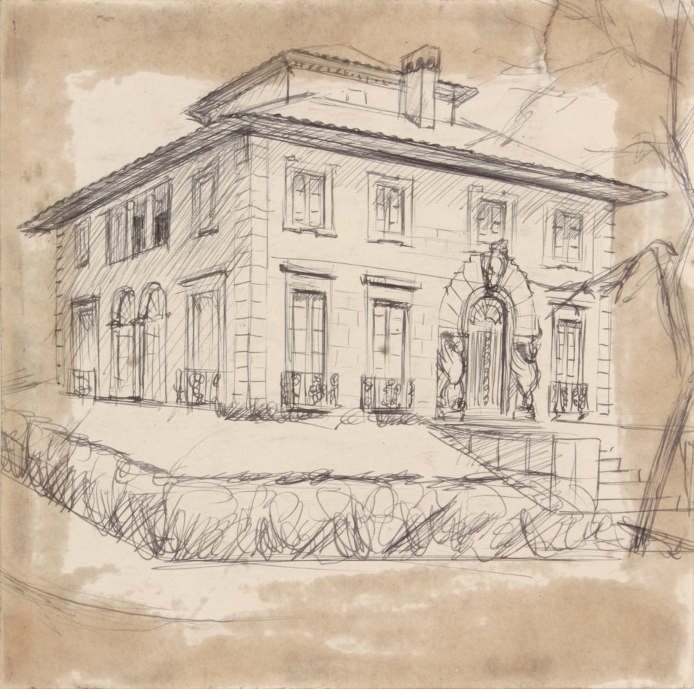 11. 1948-49, NT (Mansion_Winged Door Posts), Pen and Ink on Paper, 7.75x7.75, PPS 1492.JPG