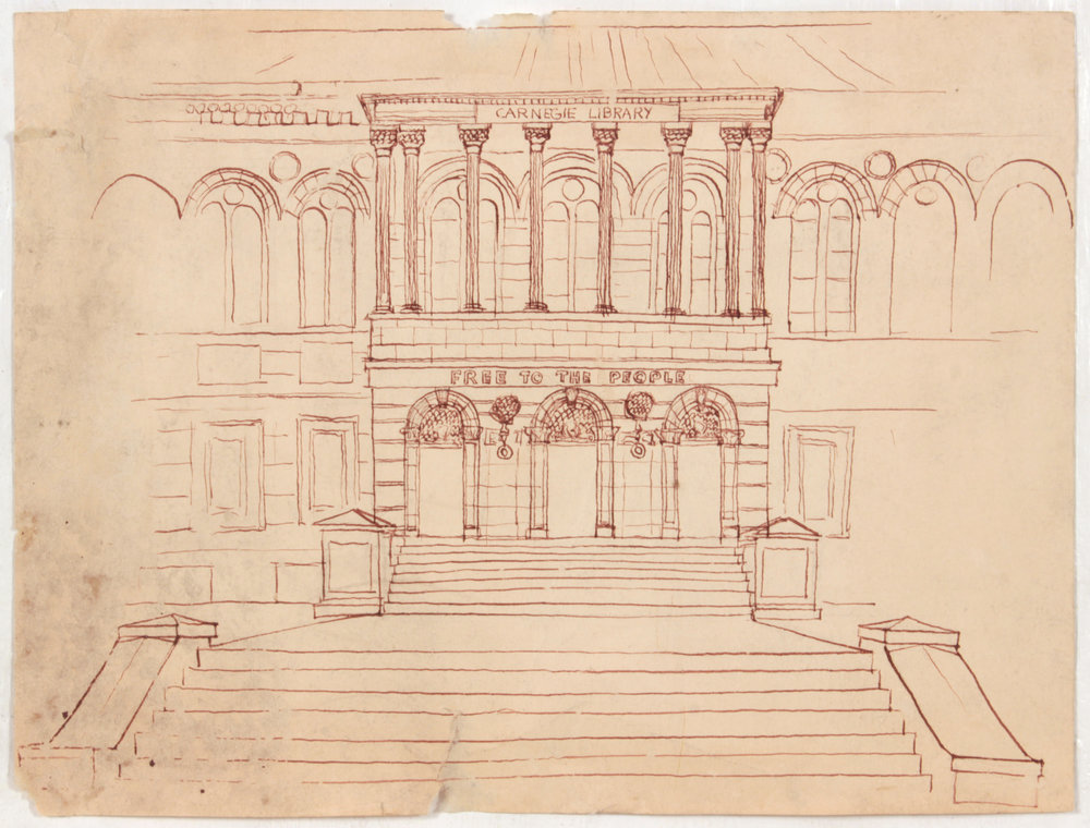 12. 1948-49, Carnegie Library, Pen and Ink on Paper, 9.0625x12, PPS 1431 .JPG