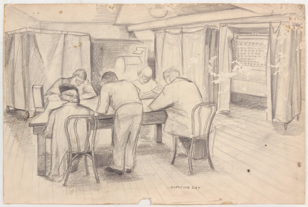 18. 1948-49, Election Day, Graphite on Paper, 10.0625x15.1875, PPS 1497.jpg