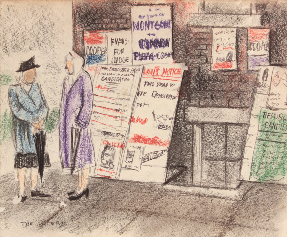 17. 1948-49, The Voters, Mixed Media on Paper, 7.50x9.125, PPS 1498.JPG