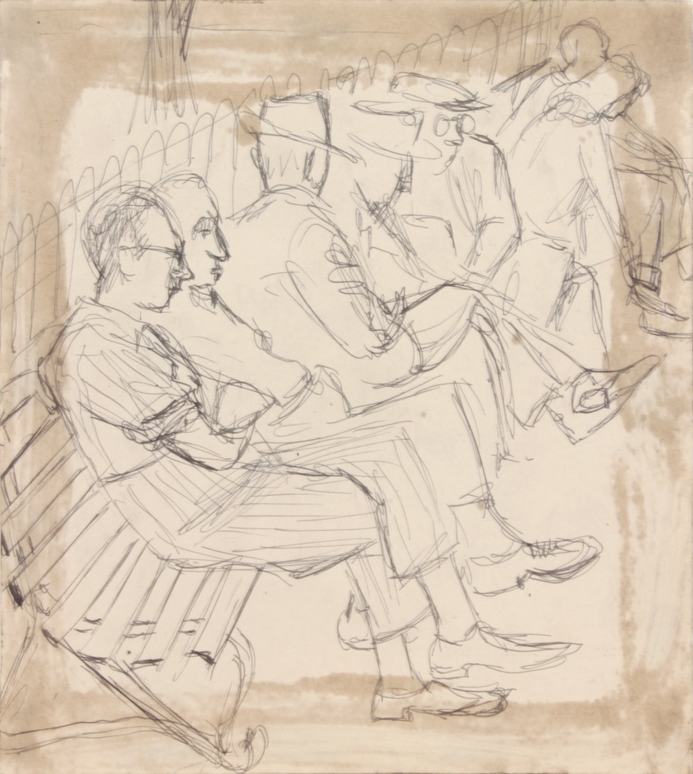 20. 1948-49, NT (People on a Park Bench), Pen and Ink on Paper, 8.25x7.50, PPS 1493.JPG