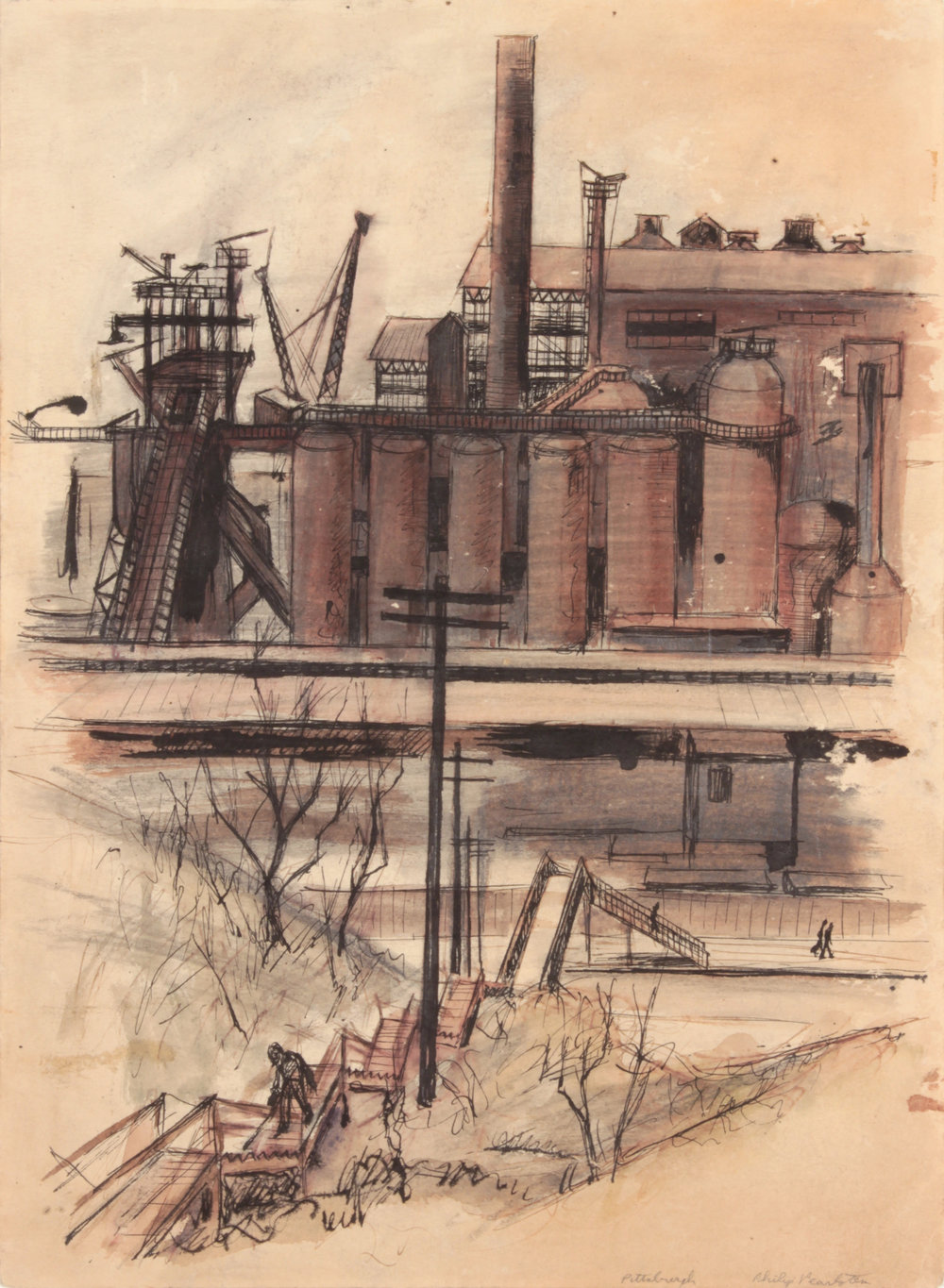 24. 1948-49, Pittsburgh (Factory and Steps Up Hill), Pen and Ink, Graphite and Wash on Paper, 13.625x9.875, PPS 489.JPG